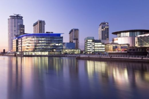 MediaCityUK Expansion at Salford Quays waterside view