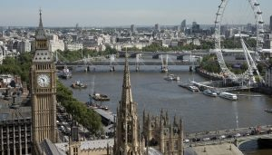 Aerial of Westminster from Victoria Tower London
