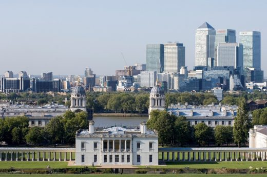 Queen's House Greenwich with Canary Wharf