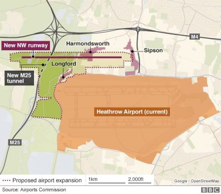 Heathrow Airport third runway layout