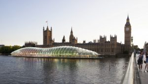 Temporary UK Parliament on the River Thames in London