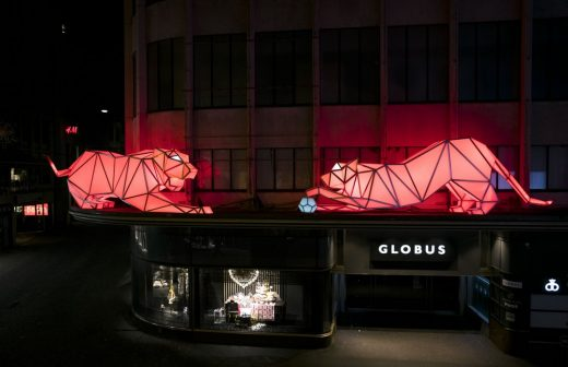 Digital Origami Tigers at 2016 Lausanne Light Festival