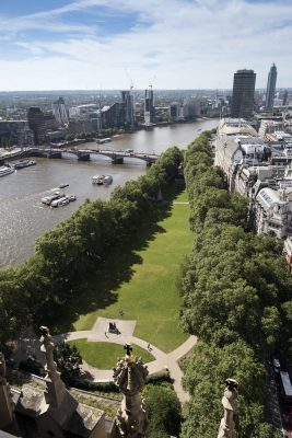 Aerial view of Victoria Tower Gardens in London