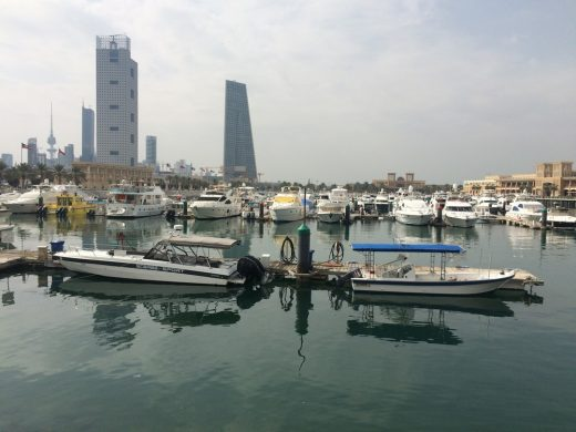 Souk Sharq marina with bank tower beyond