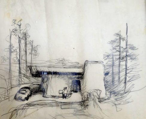 Frank Gehry's Greber Studio Sketch 1967, Beverly Glen, Calif.