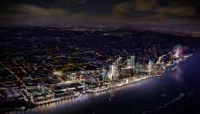 Liverpool Waters project by night