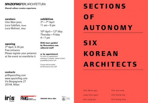 Sections of Autonomy. Six Korean Architects