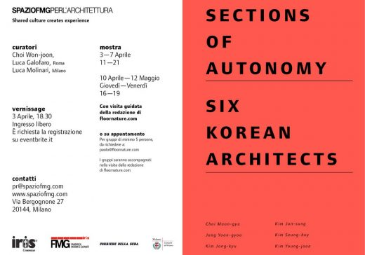 Sections of Autonomy. Six Korean Architects in Milan