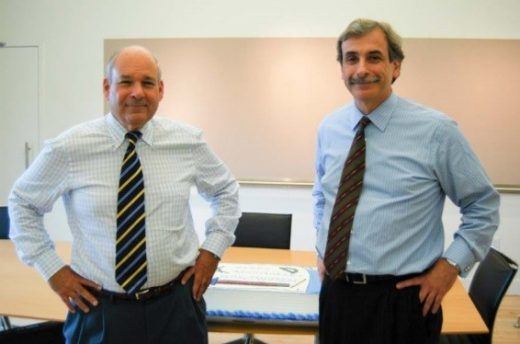 Howard Elkus, on left, with David Manfredi, co‐founders of Elkus Manfredi Architects