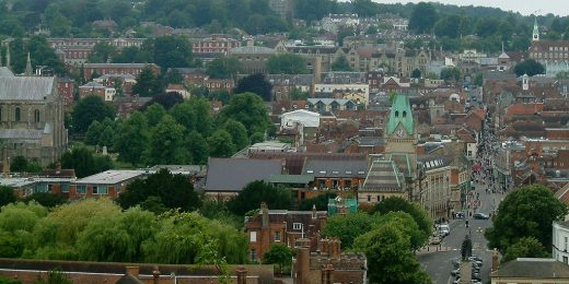 Broadway, Winchester, Hampshire, from St Giles' Hill