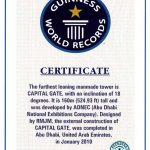 Guinness World Record certificate for Capital Gate Abu Dhabi