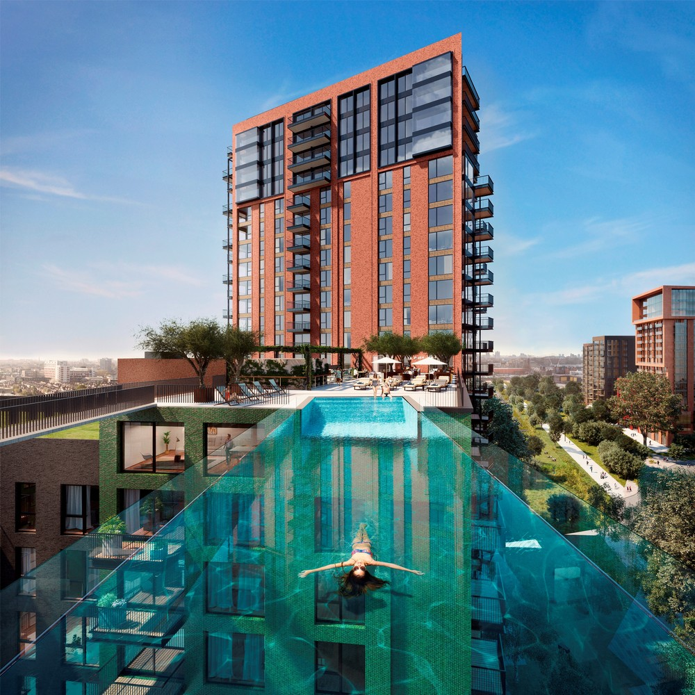 Sky pool at embassy gardens in london 2 e architect for Pool london