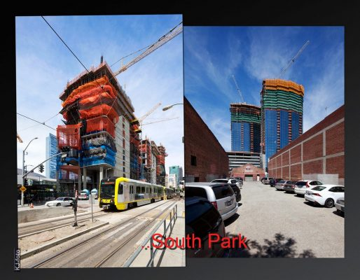 Oceanwide Plaza and Circa Twin towers in SouthPark district, Los Angeles construction photo   www.e-architect.com