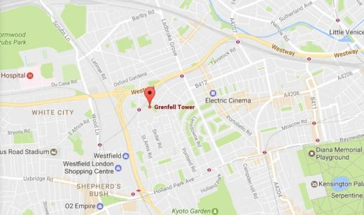 Grenfell Tower West London location