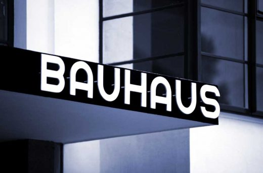 Bauhaus Dessau building in Germany sign