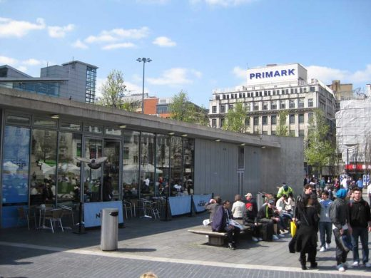 Piccadilly Gardens concrete Pavilion and wall | www.e-architect.co.uk