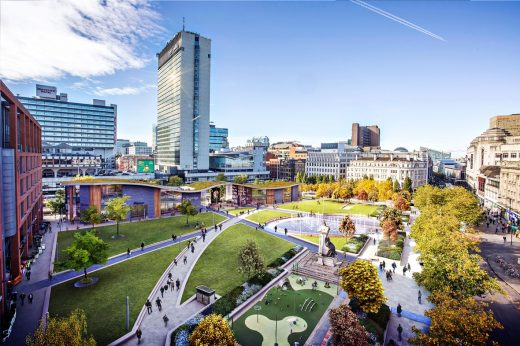 Manchester Piccadilly Gardens new landscape design