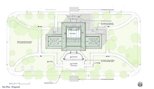 Apple Store at Carnegie Library of Washington D.C. location plan | www.e-architect.com