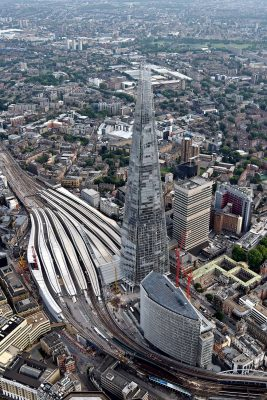 The Shard London tower aerial photo