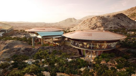 Oman Botanic Garden Visitor's Centre pavilions and cable car structure