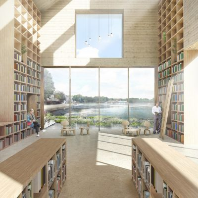 Southmere Village Library building design by Reiulf Ramstad architect