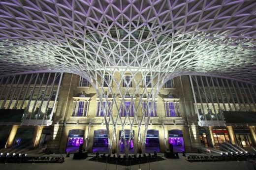 King's Cross station concourse funnel at night