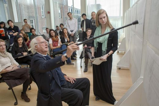 Richard Meier at a Studio Review with students from Cornell University