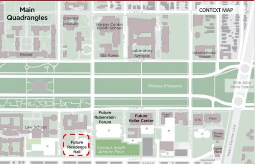 Woodlawn Residential Commons, University of Chicago map