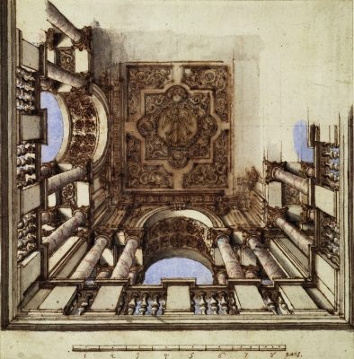 Design for a ceiling with columns and coffered arches