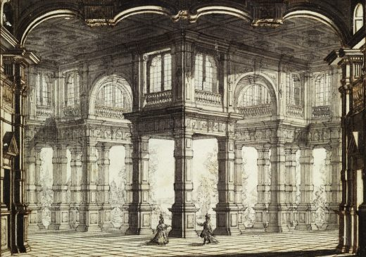Drawing by or after Galli Bibiena, 1755. Design for stage set of Clemenza di Tito in the Opera House, Lisbon