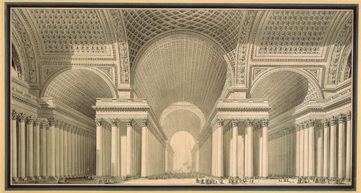 Etienne-Louis Boullee, 1782, Project for a metropolitan cathedral in the form of a Greek cross with a domed centre