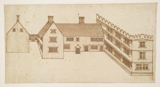 John Smythson, Design for a house with a castellated wing_ perspective view