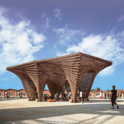 Bamboo stalactite by Vo Trong Nghia Architects in Venice Italy