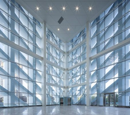 China Optics Valley Convention and Exhibition Center facade interior