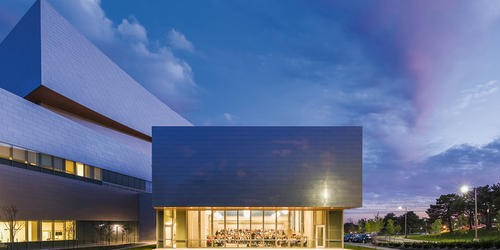 Hancher Auditorium Iowa City building design by Pelli Clarke Pelli Architects