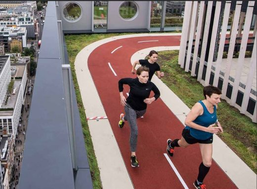 rooftop running track designed by AHMM on the White Collar Factory, London
