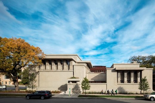 Unity Temple building in Oak Park, Illinois by Architect Frank Lloyd Wright