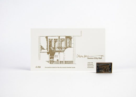 Boston City Hall 50th Anniversary Pin and Letterpress Drawing Card