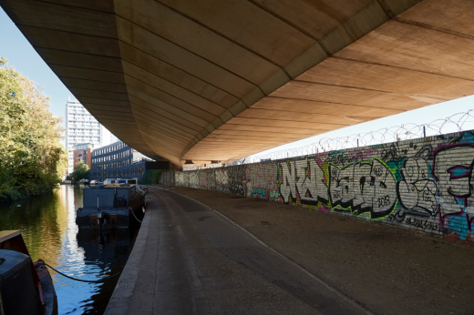 Paddington Arm of the Grand Union Canal in West London, under the Westway - London Festival of Architecture 2019