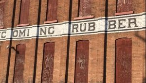 External signage on facade of the Pajama Factory, Williamsport PA.