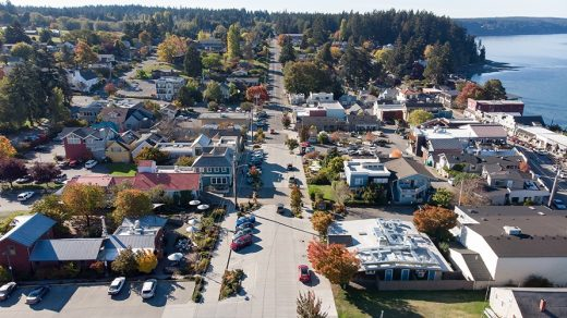 Second Street in downtown Langley, WA on Whidbey Island,