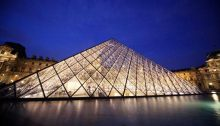 Louvre Pyramid Paris building by evening