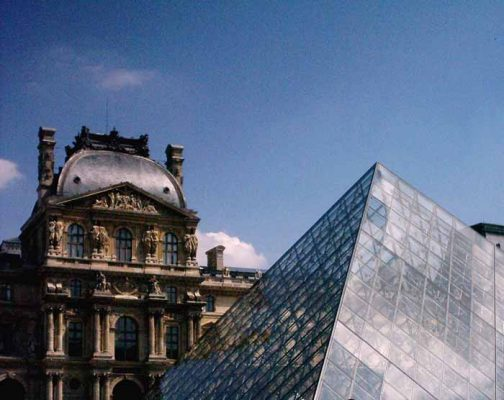 Louvre Pyramid Paris building by I M Pei architect