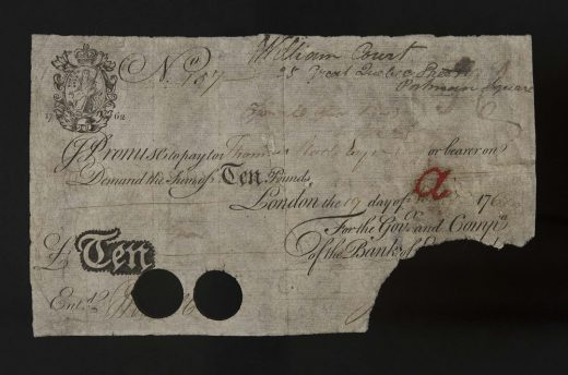 Banknote, 1762 First issue of £10 notes in 1759