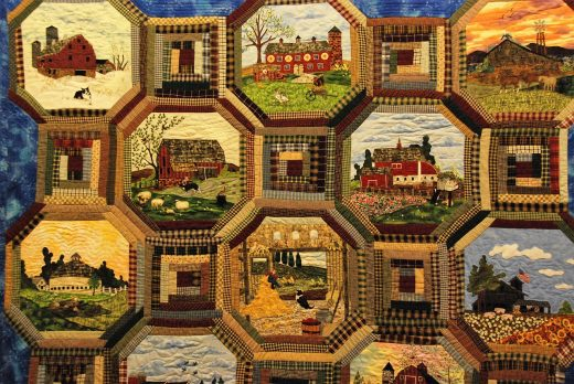 Patchwork quilt wall hanging design