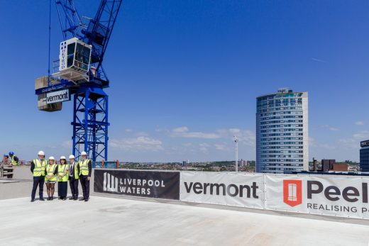 Plaza 1821 Liverpool Waters building Topping Out