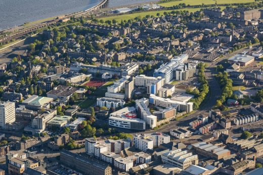 Aerial photo of buildings designed by Dundee architect office