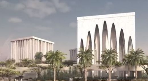 Exterior view of The Abrahamic Family House in Abu Dhabi, UAE