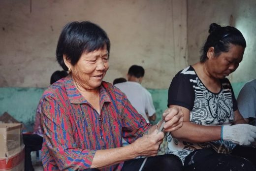 local villager participated in making bamboo joint