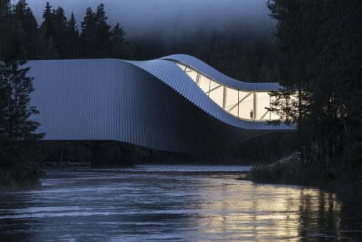 The Twist at Kistefos building over a river in Norway by BIG, Architects